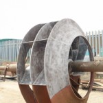 A rather large fan cleaned with archfiend media (copper slag) in halifax for a steel manufacturing business